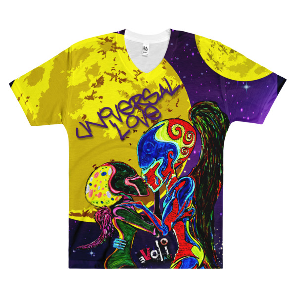 """Universal Love"" ALL PRINT Men's V-Neck T-Shirt"