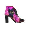 Black Cat Pink – Women's Canvas Lace Up Chunky Heel Ankle Boots (Model 054)