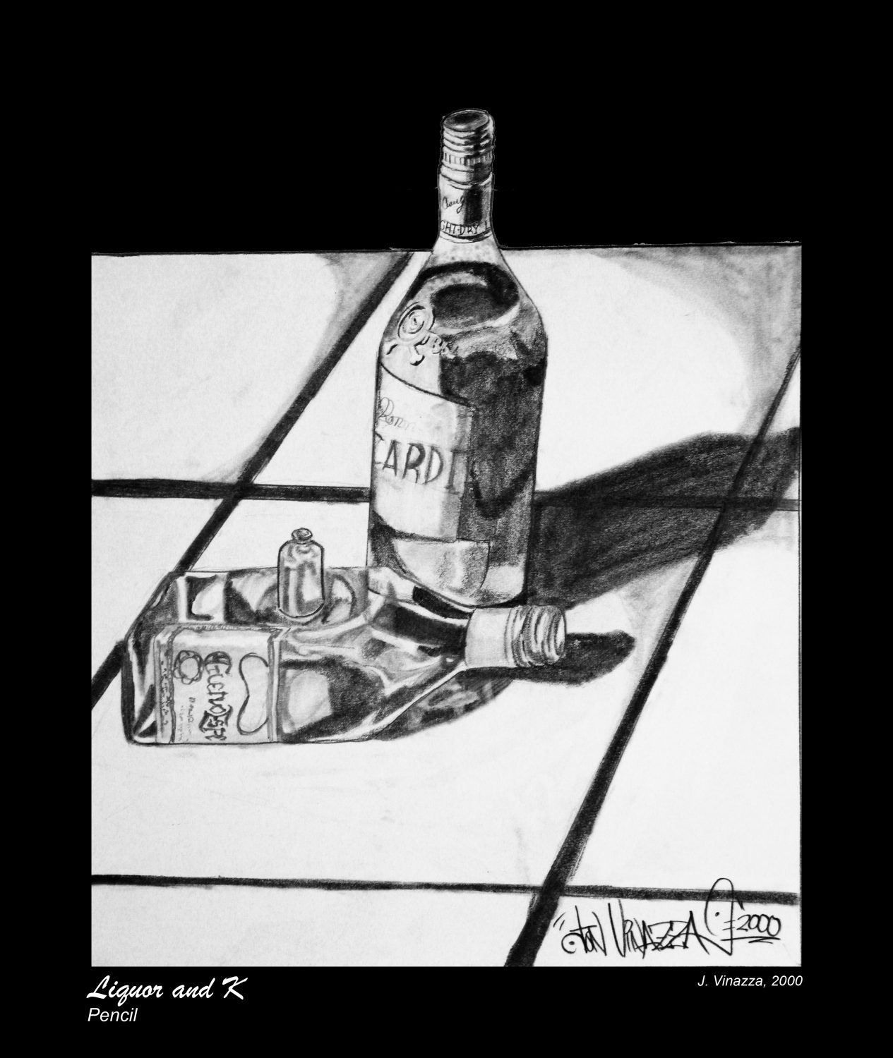 Liquor and K Still Life Drawing