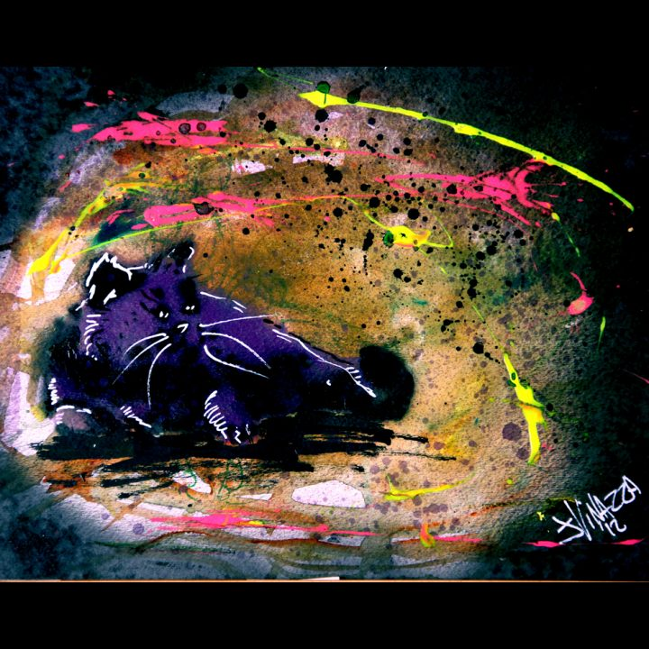 Purple Fat Cat | Watercolor Cat Art